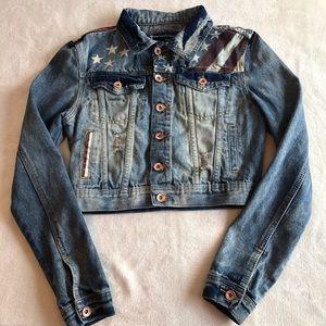 Distressed American Flag cropped jean jacket M